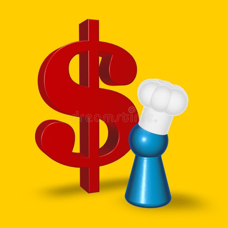 Symbole de jeton et de dollar de cuisinier illustration stock
