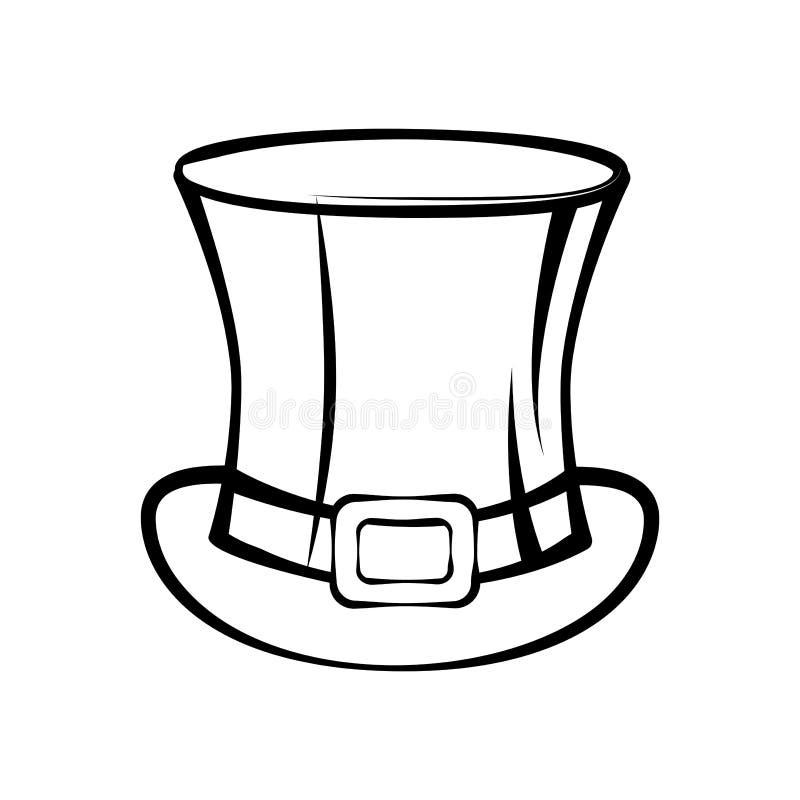 Symbole de jour de St Patrick de chapeau supérieur de silhouette Illustration de vecteur d'isolement sur le blanc illustration stock