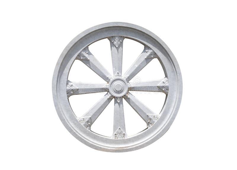 Symbole de karma de roue de pierre de Thammachak de bouddhisme photo stock
