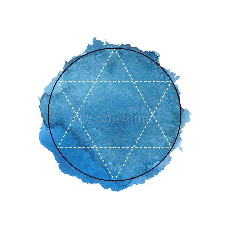 Symbole de l'alchimie et de la géométrie sacrée sur le fond bleu d'aquarelle illustration libre de droits