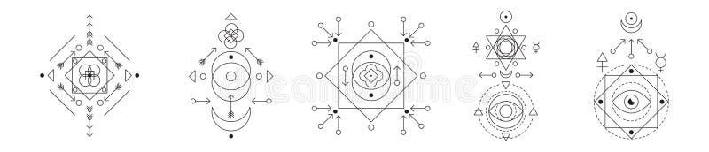 Symbole de l'alchimie et de l'ensemble sacré de la géométrie Collection linéaire d'illustration de caractère pour des lignes tato illustration de vecteur