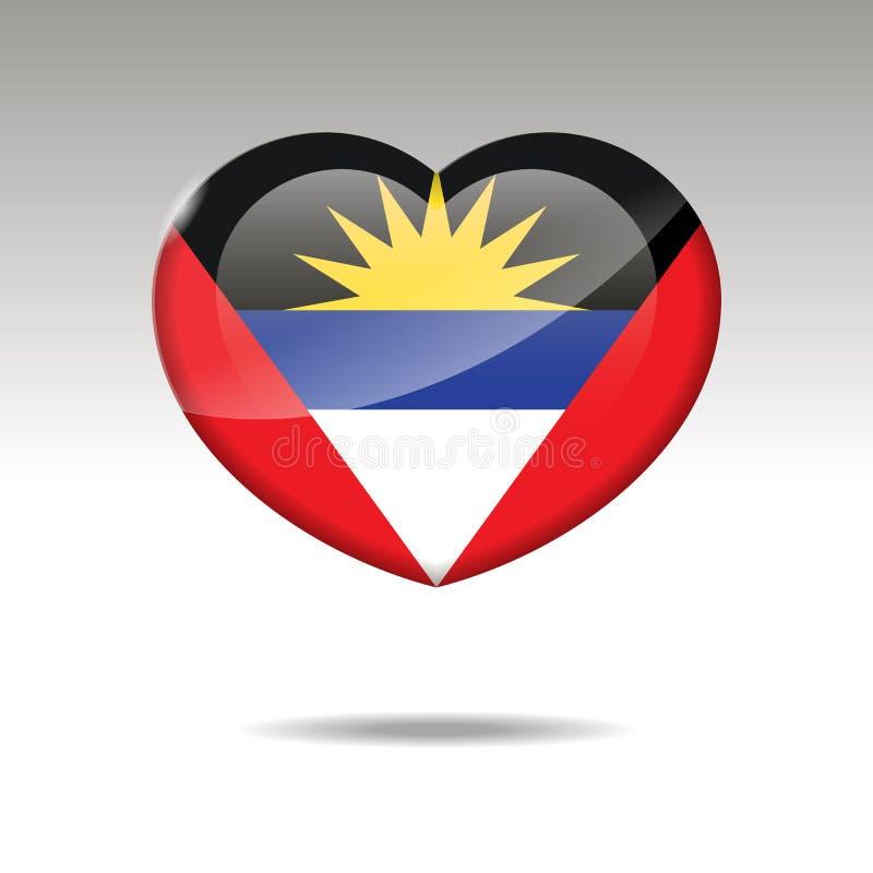 Symbole de l'ANTIGUA-ET-BARBUDA d'amour Icône de drapeau de coeur illustration libre de droits