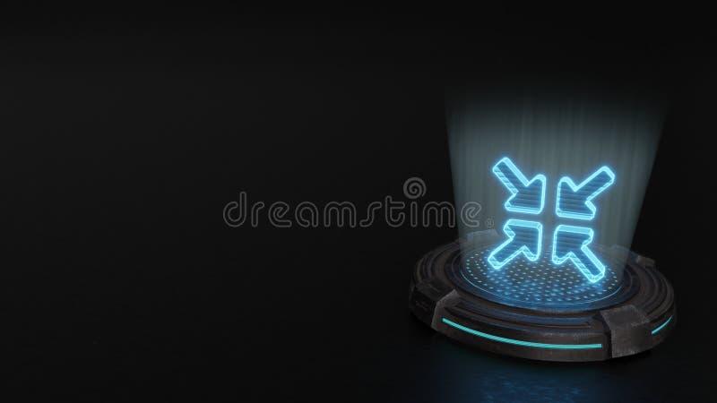 symbole de l'hologramme 3d d'icône des flèches alt de compresse rendre illustration de vecteur