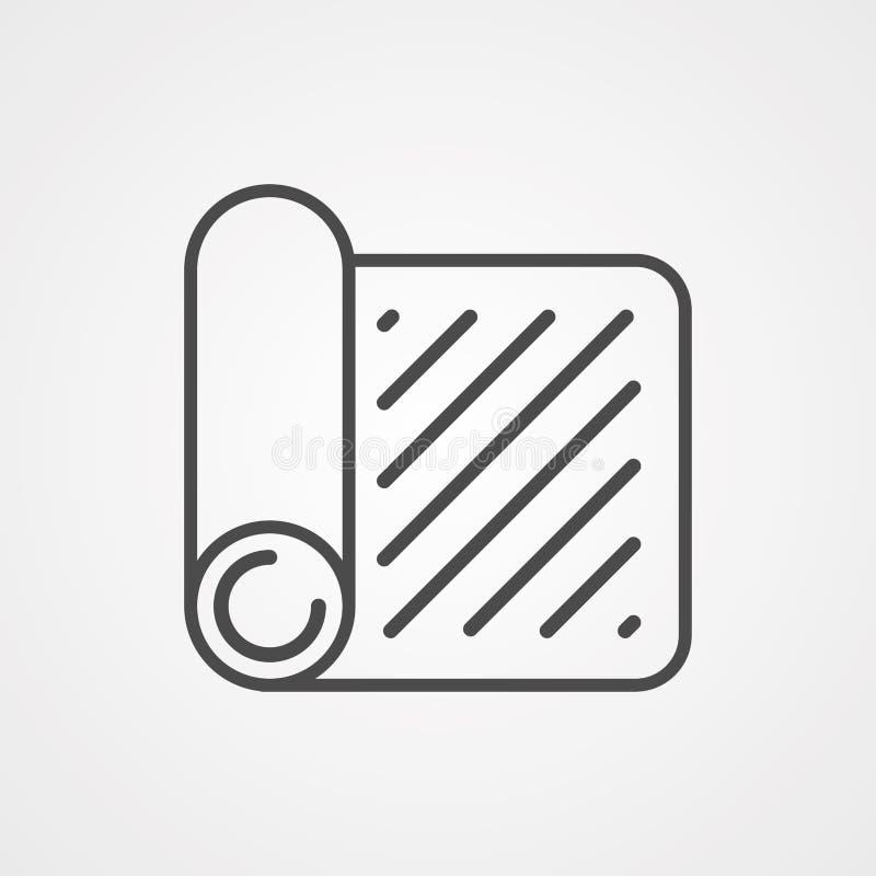 Symbole de l'icône du tapis de yoga illustration stock