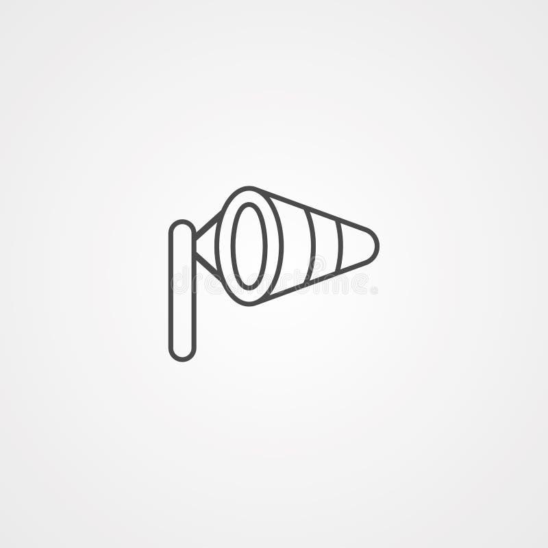 Symbole de l'icône représentant le vecteur de Windsock illustration stock