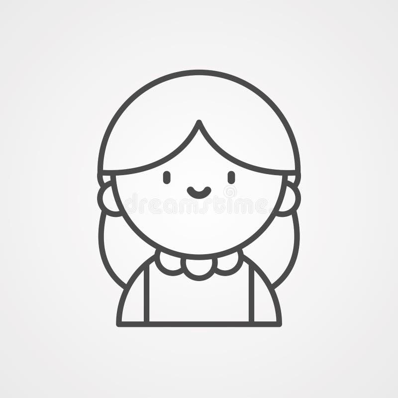 Symbole de l'icône représentant un vecteur féminin illustration stock