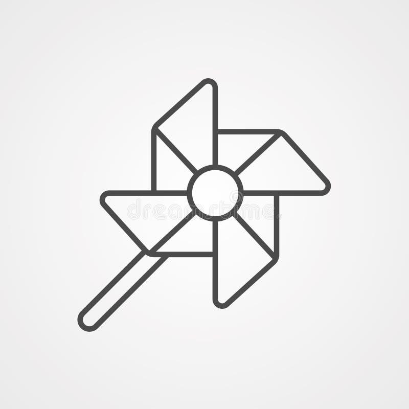 Symbole de l'icône représentant un vecteur de fleurs de moulin à vent illustration de vecteur