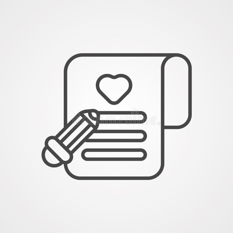 Symbole de l'icône représentant un vecteur de liste de souhaits illustration de vecteur