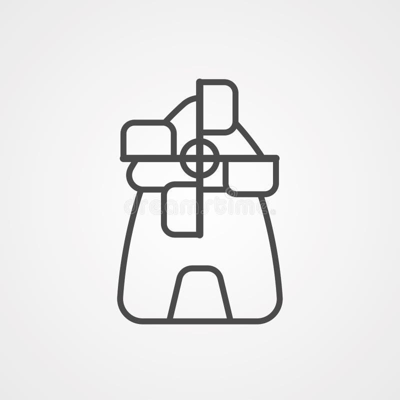 Symbole de l'icône représentant un vecteur de moulin à vent illustration de vecteur