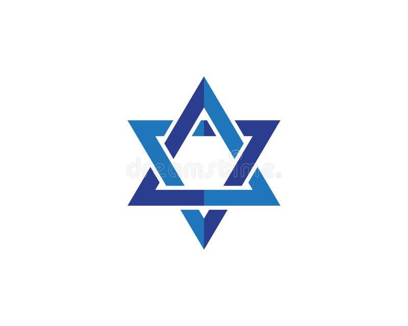 Symbole de l'Israël d'icône de David d'étoile bleue illustration de vecteur