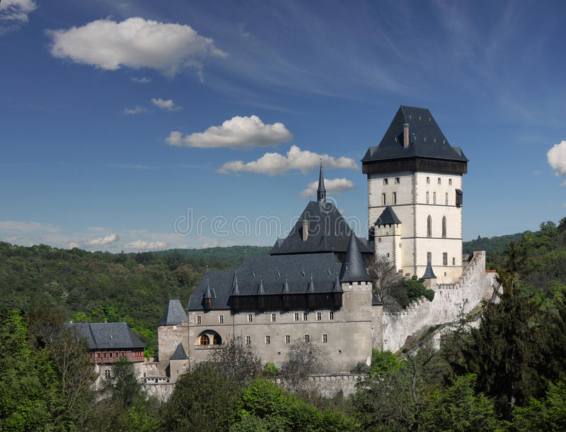 Symbole de la Bohême de bijou d'histoire d'héritage de point de repère de château de Karlstein images libres de droits