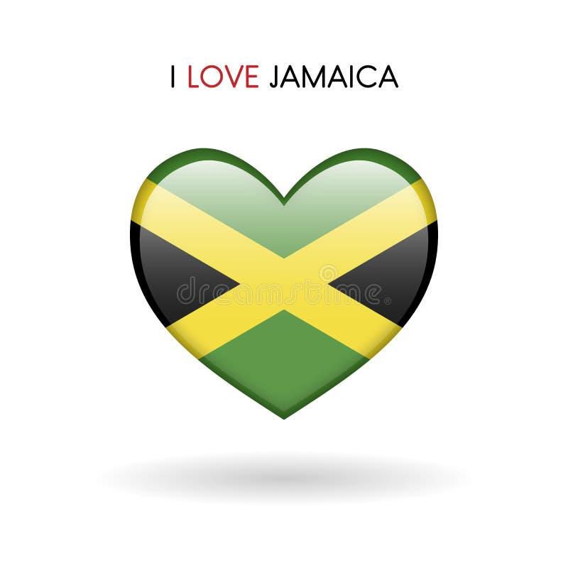 Symbole de la Jamaïque d'amour Marquez l'icône brillante de coeur sur un fond blanc illustration stock
