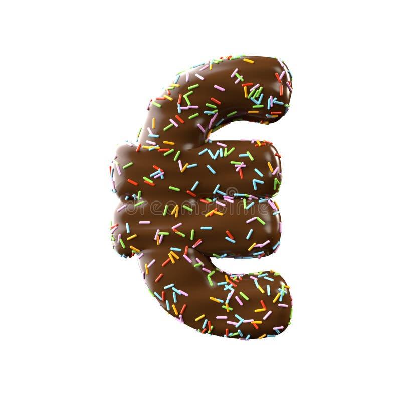 Symbole de lettre de chocolat euro d'isolement sur le fond blanc photo libre de droits