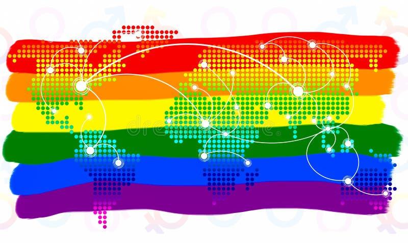 Symbole de LGBT La couleur du drapeau d'arc-en-ciel et du bouton virtuel de carte du monde sur le fond blanc image stock