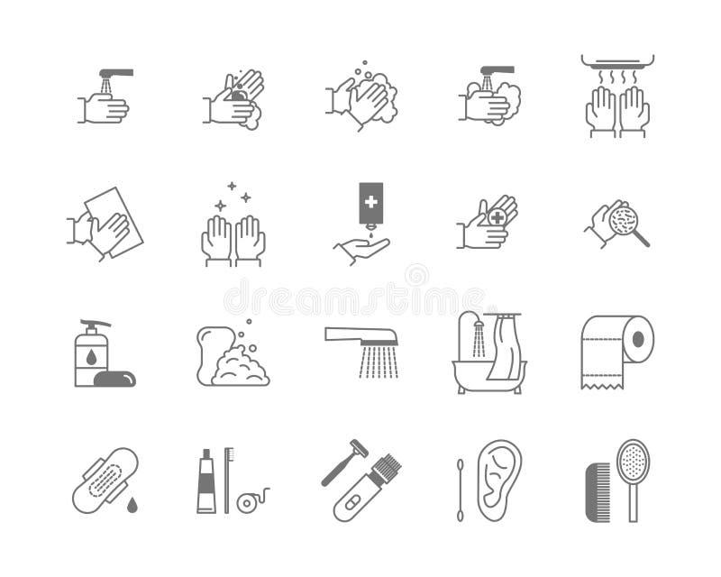 Symbole de ligne mince noire ensemble de Higiene d'icône Vecteur illustration libre de droits