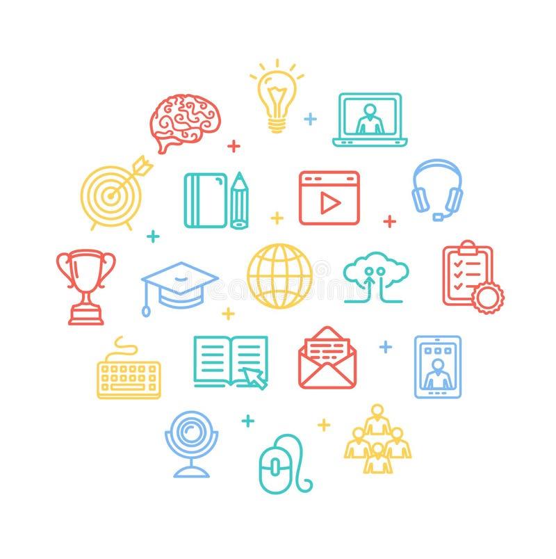 Symbole de ligne ronde concept de calibre de conception de couleur en ligne d'éducation d'icône Vecteur illustration de vecteur