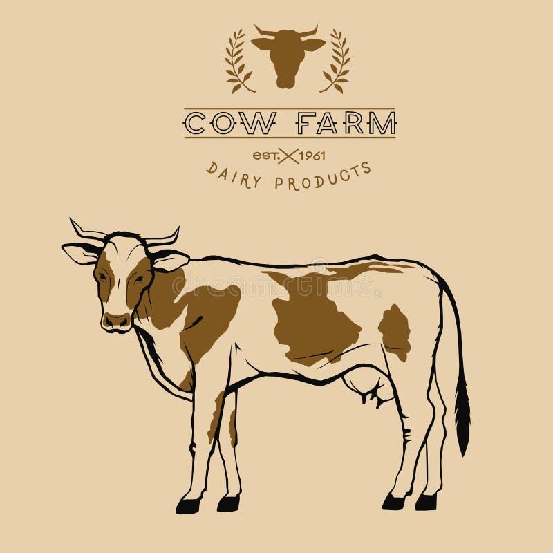 Symbole de logo de ferme de vache à vecteur dans deux couleurs, beige, brunes illustration libre de droits
