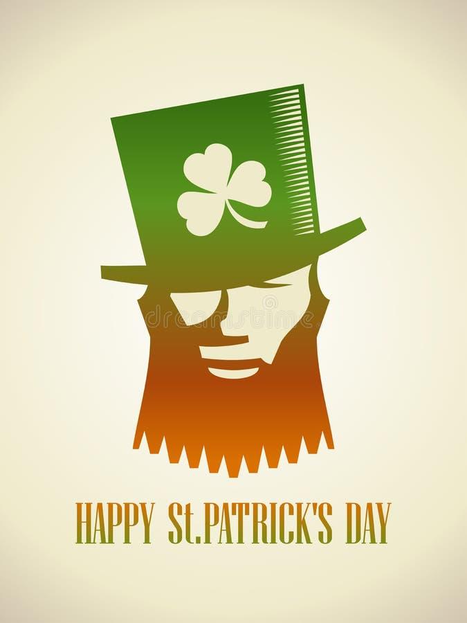 Symbole de logo de lutin, carte du jour de St Patrick ou affiche illustration de vecteur