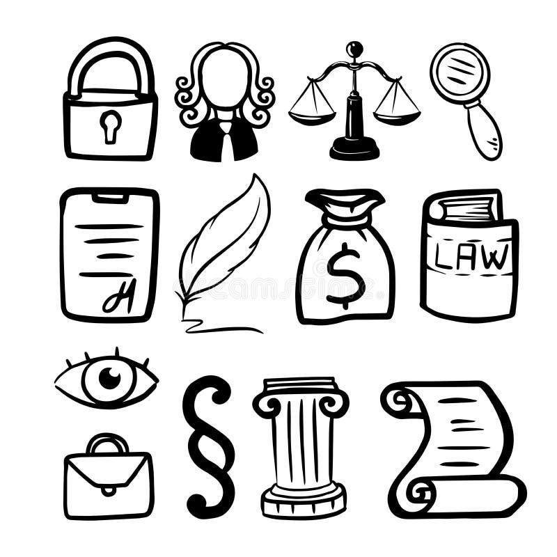 Symbole de loi et de justice _conceptuel loi et justice ?chelles de juge, un juge, un stylo, un petit pain de papier illustration de vecteur