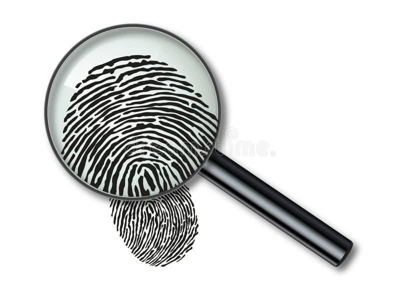 Symbole de loupe et d'empreinte digitale pour identifier un suspect illustration libre de droits