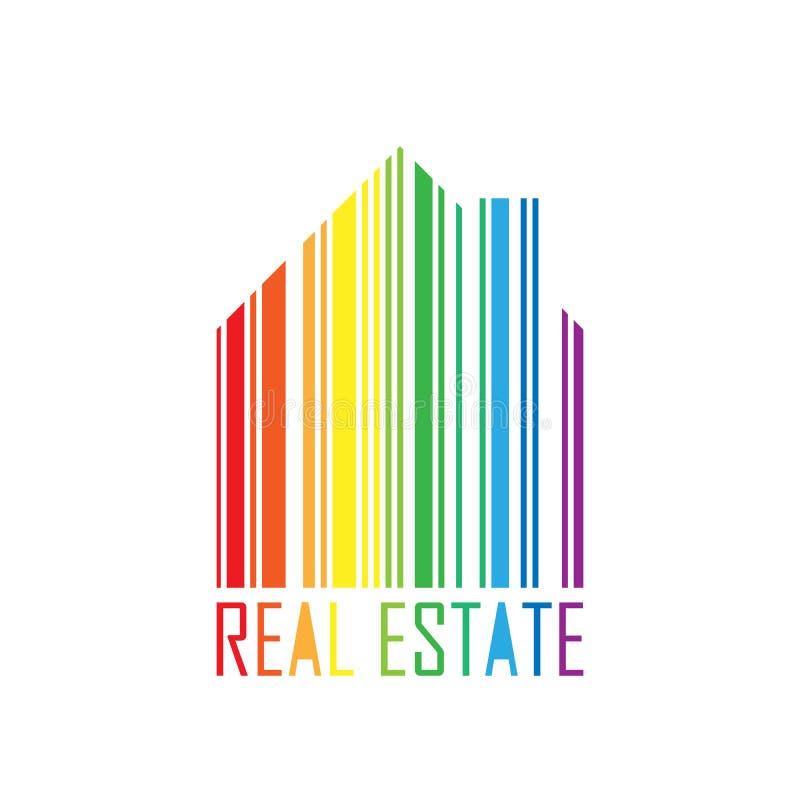 Symbole de maison avec la conception de code barres et le label d'immobiliers Marché hypothécaire et thème de service spectre col illustration stock