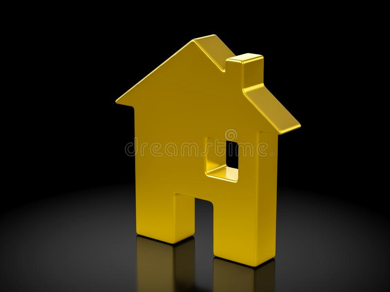 Symbole de maison d'or illustration stock