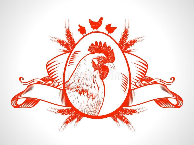 Symbole de marché de produits frais de ferme avec la poule illustration stock