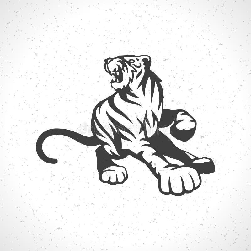 Symbole de mascotte de calibre d'emblème de logo de tigre illustration stock