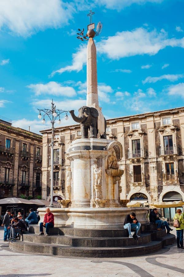 symbole de monument d'éléphant de la ville de Catane Sicile photo libre de droits