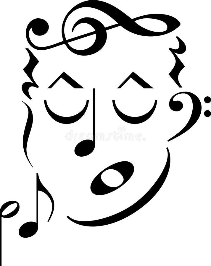 symbole de musique de visage illustration stock