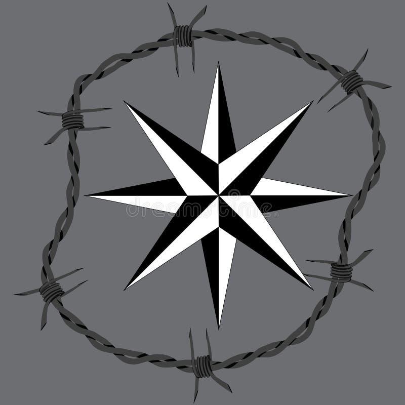 Symbole de navigation de windrose de cadre de cercle de barbelé illustration libre de droits