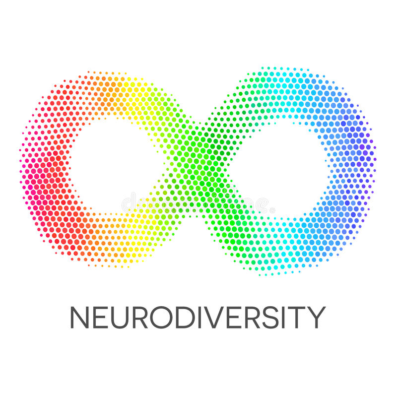 Symbole de Neurodiversity Boucle d'infini d'arc-en-ciel illustration stock