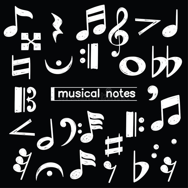 Symbole de note musicale de griffonnage au-dessus de tableau illustration de vecteur