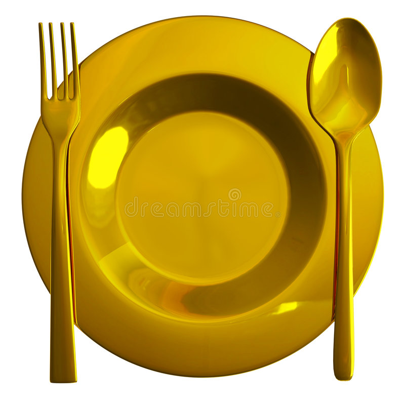 Symbole de nourriture d'or illustration stock