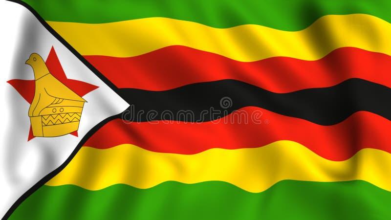 Symbole de ondulation de drapeau du Zimbabwe dans le vent illustration libre de droits