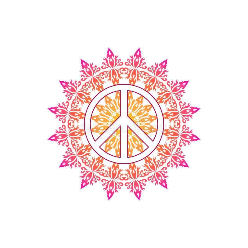 Symbole de paix hippie au-dessus de modèle rond de mandala fleuri illustration de vecteur