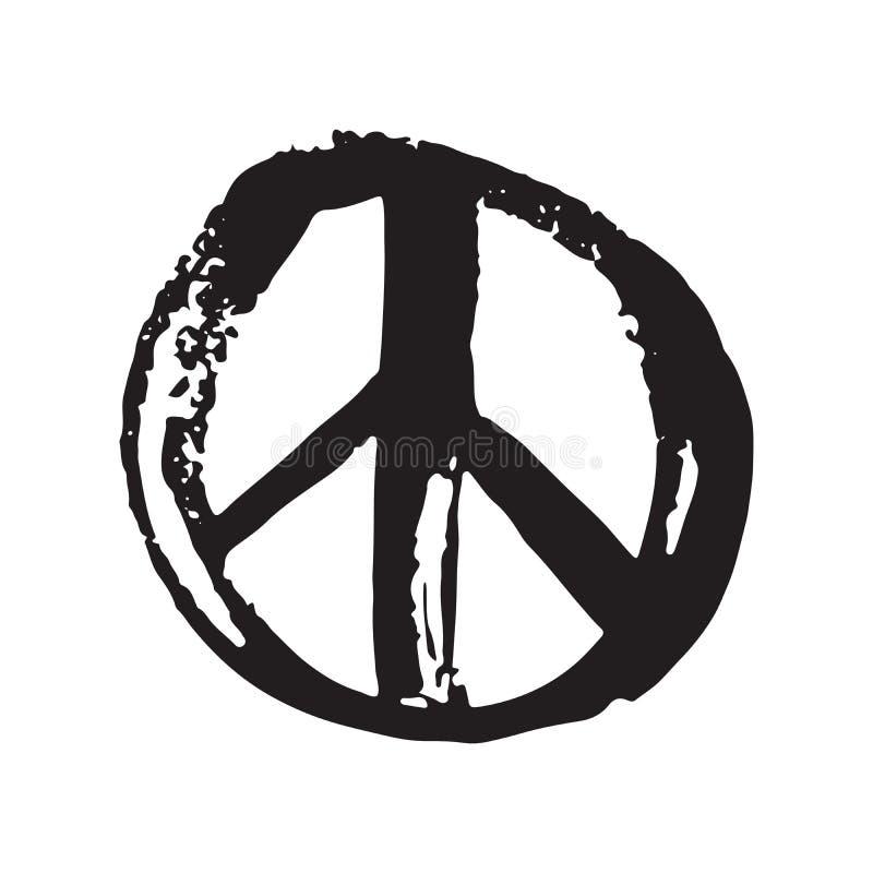 Symbole de paix, signe hippie ou pacifiste grunge tiré par la main, illustration de vecteur d'isolement sur le fond blanc illustration de vecteur
