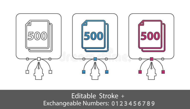 Symbole de papier de feuilles et nombres échangeables - icône dénommée par contour - course Editable - illustration de vecteur -  illustration libre de droits