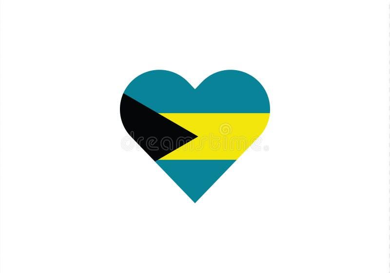 Symbole de pays de forme de coeur d'amour des Bahamas illustration de vecteur
