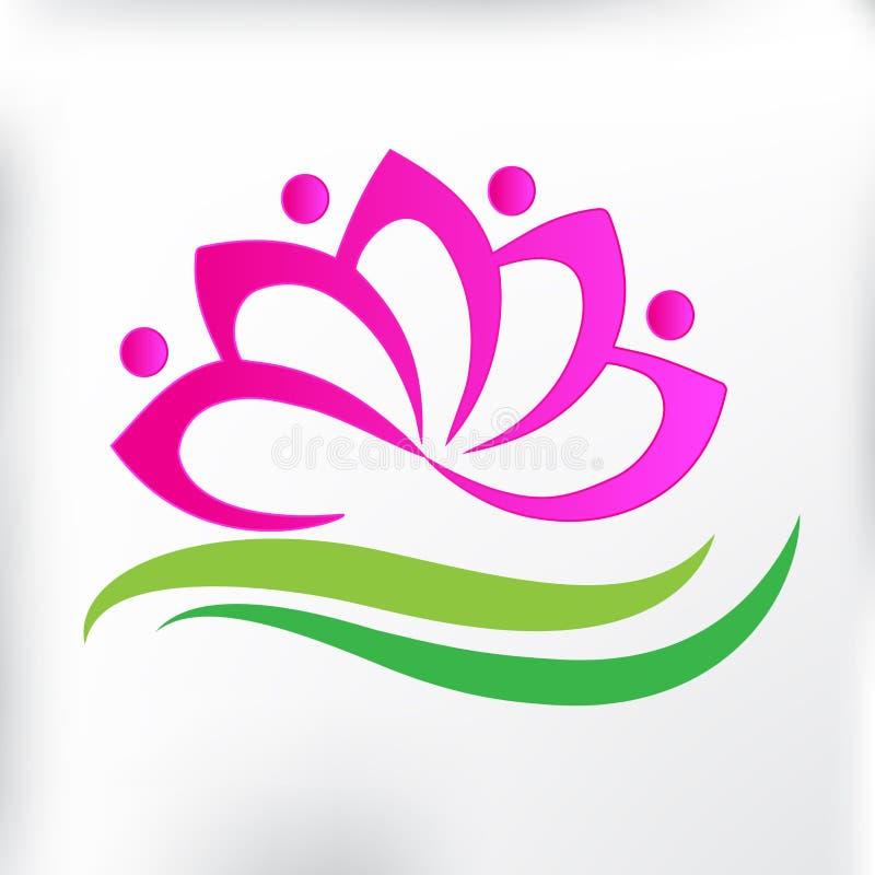 Symbole de personnes de travail d'équipe de carte d'identification d'icône de fleur de lotus de massage de station thermale de lo illustration stock