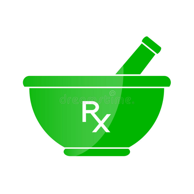 Symbole de pharmacie - mortier et pilon en vert illustration de vecteur