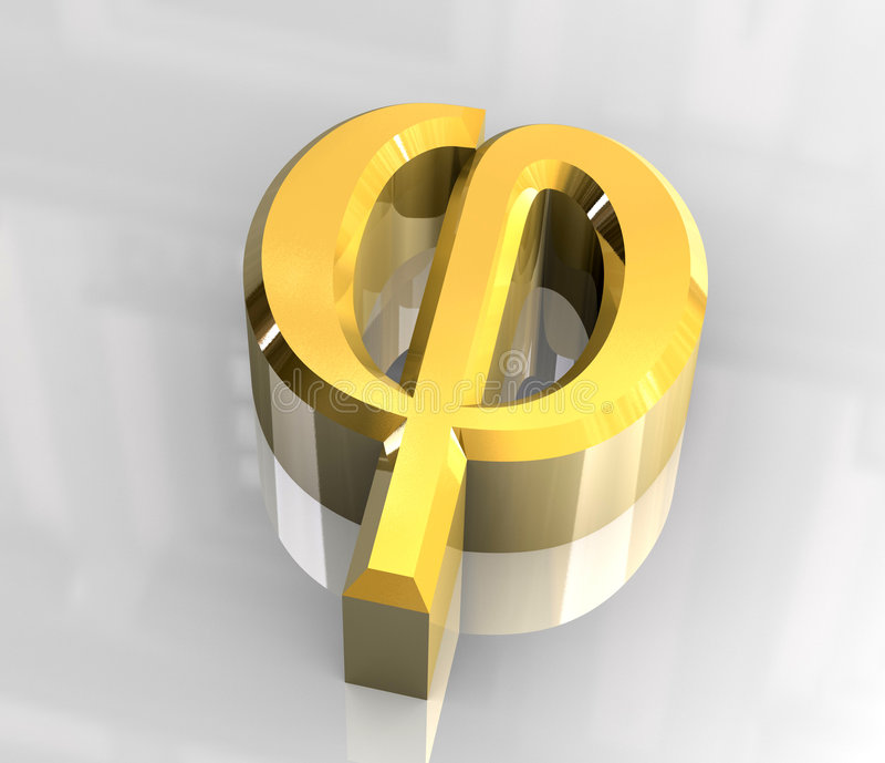 Symbole de phi en or (3d) illustration de vecteur