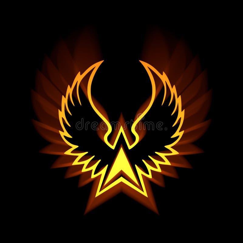 Symbole de Phoenix avec les fusées légères fortes illustration stock