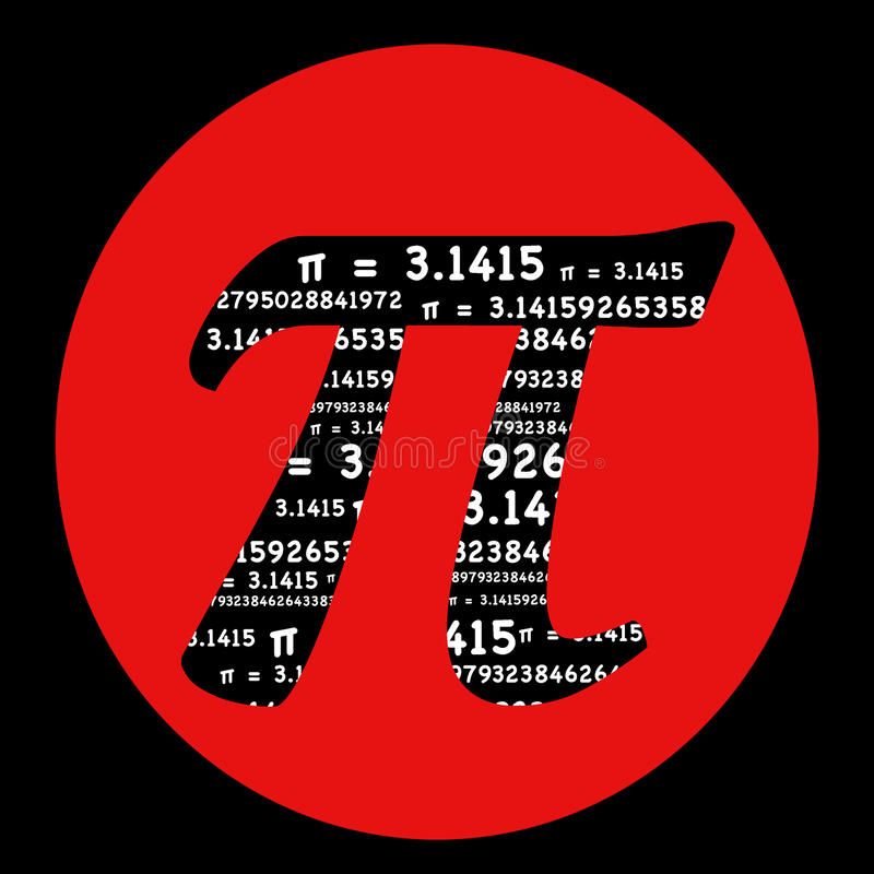 Symbole de pi avec le cercle rouge illustration libre de droits
