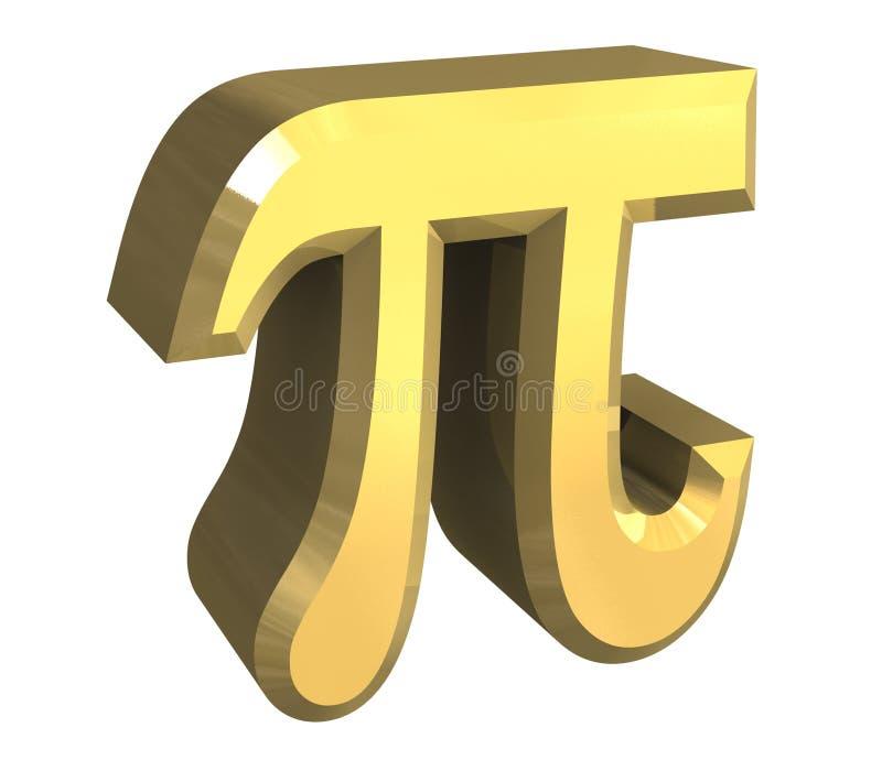 Symbole de pi en or (3d) illustration de vecteur