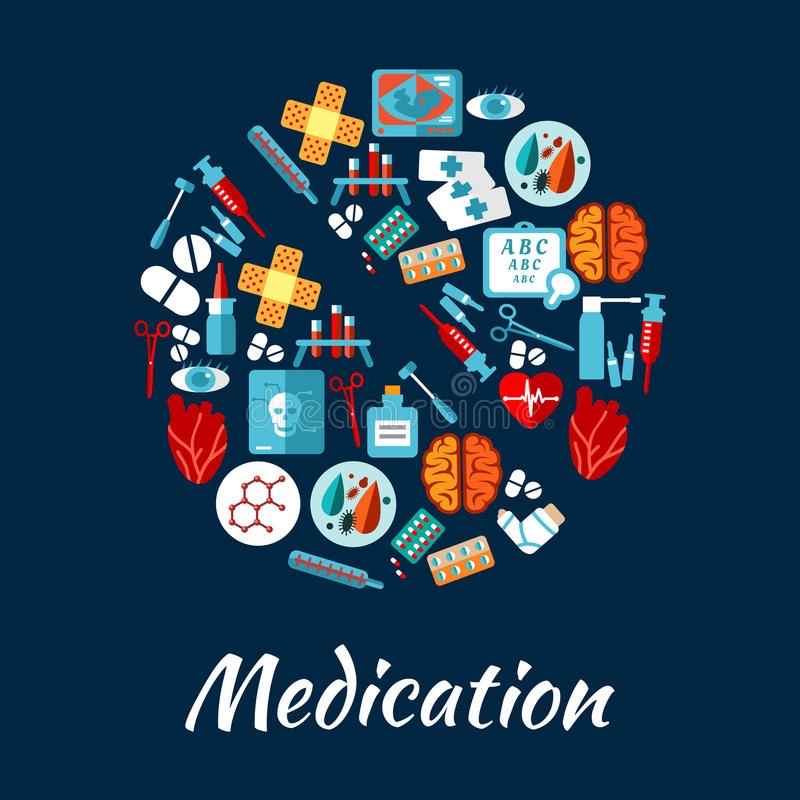 Symbole de pilule avec les icônes plates du médicament illustration de vecteur