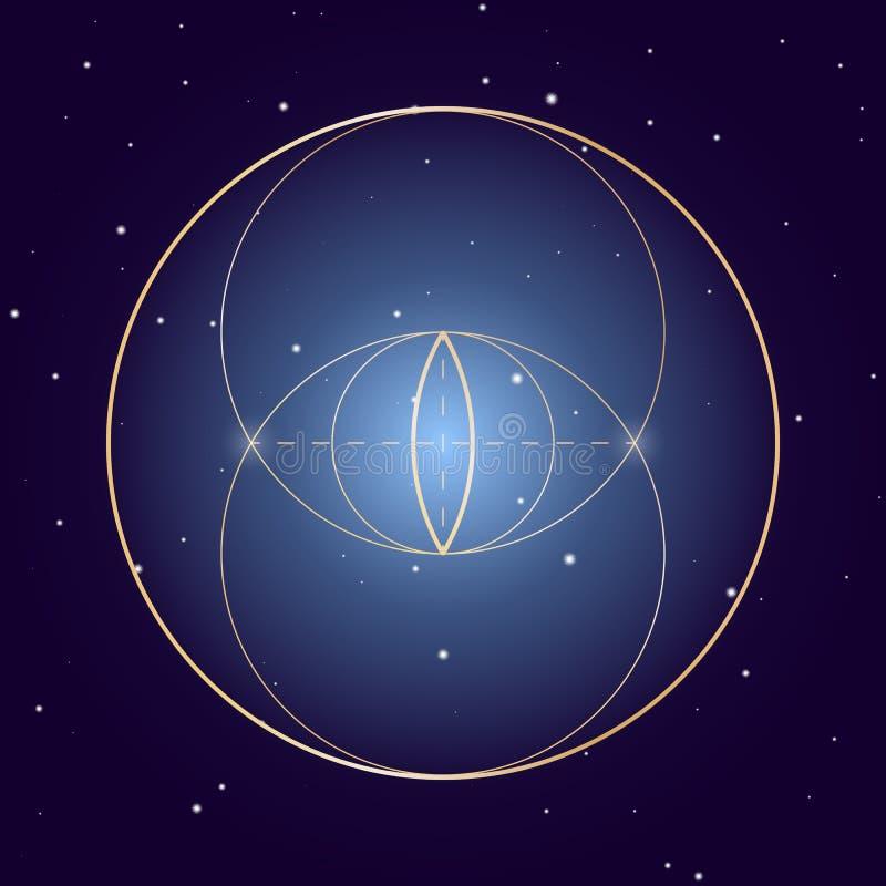 Symbole de Piscis de vessie de la géométrie sacrée, élément de vecteur pour la conception illustration de vecteur