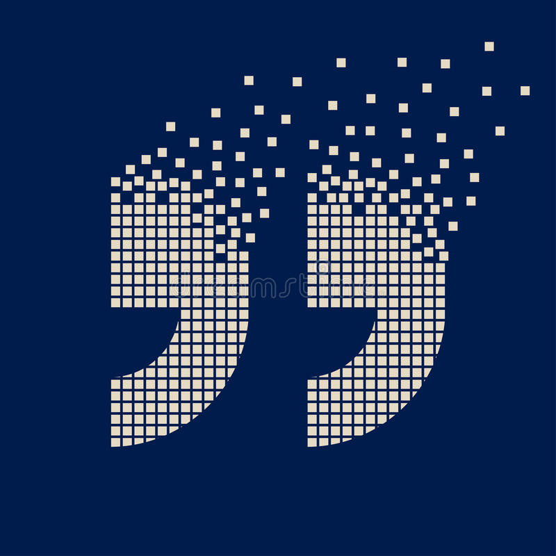 Symbole de pixel de vol de marque de citation illustration stock
