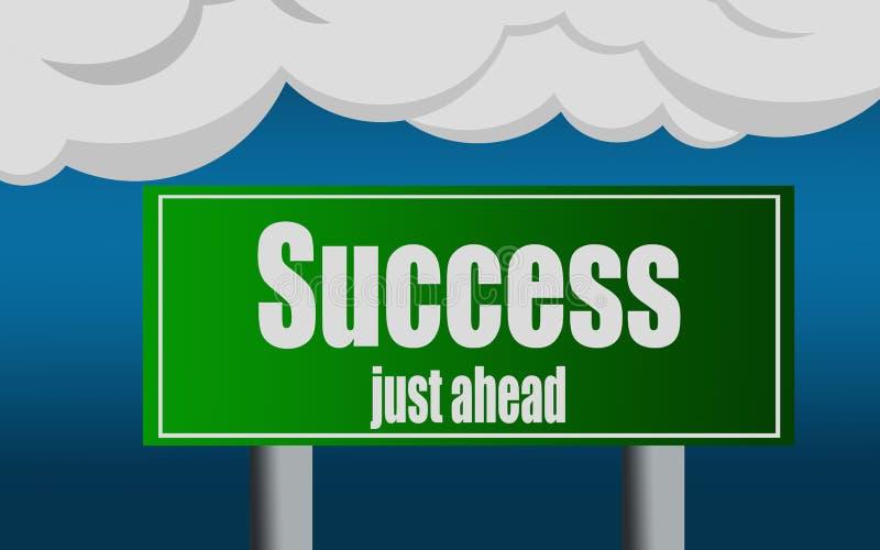 Symbole de plaque de rue de route de sortie avec le mot de succès illustration stock