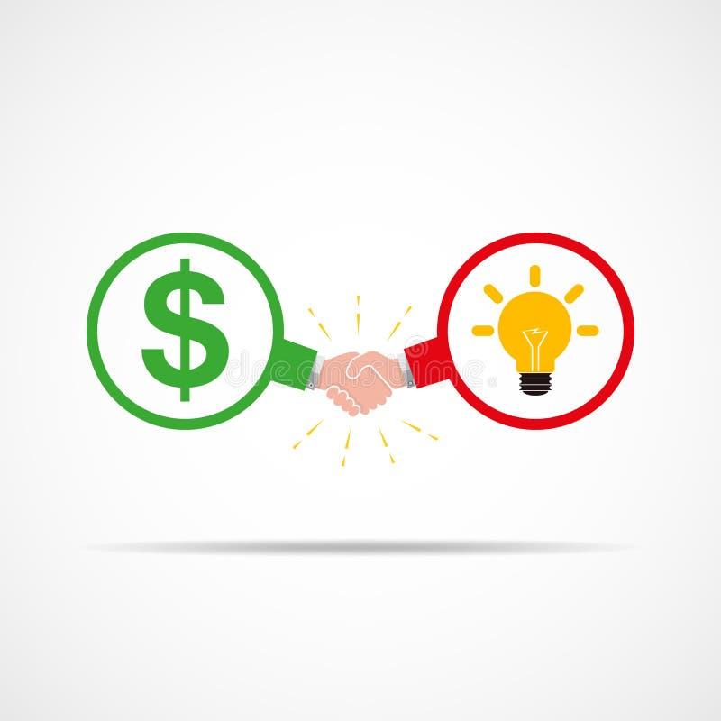 Symbole de poignée de main entre les symboles dollar et l'ampoule, comme symbole de nouvelles idées Illustration de vecteur illustration de vecteur